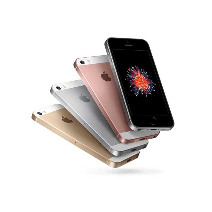 Refurbished iPhone SE 4 colors tilted