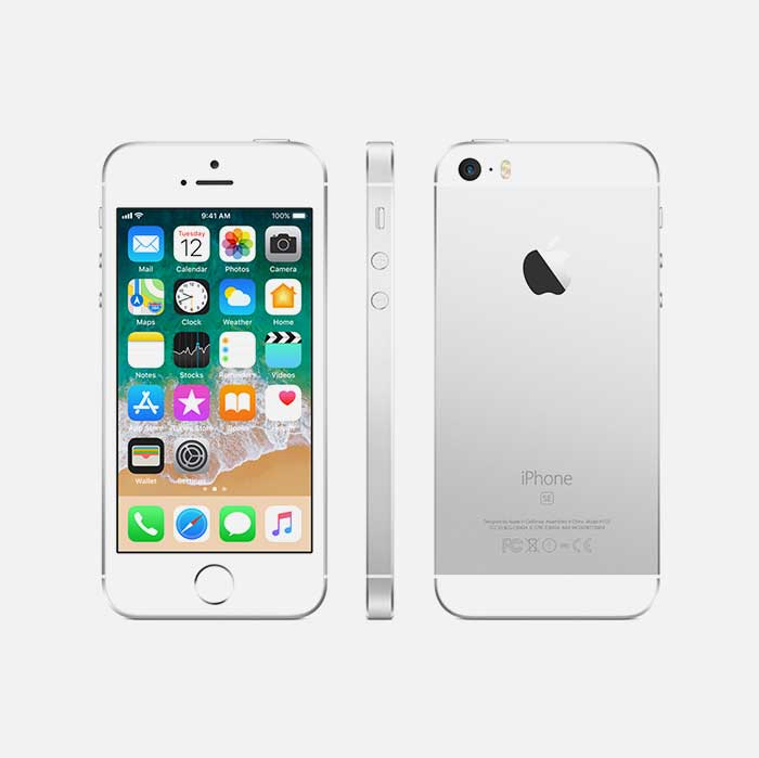 Refurbished iPhone SE Gray front, side and back